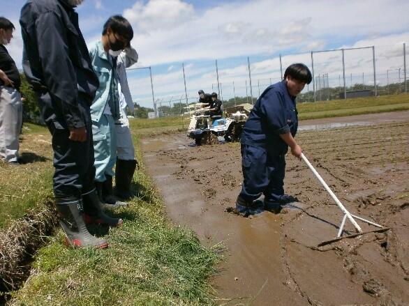 田植え中ですが,機械の旋回した際のタイヤの跡が気になります。田んぼの中に入りならします。(泥の中では思うように動くことができません)